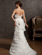 Trumpet/Mermaid Scalloped Neck Court Train Organza Wedding Dress With Ruffle Lace Sash Beading (002014914)