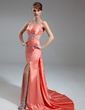 Trumpet/Mermaid V-neck Watteau Train Charmeuse Evening Dress With Ruffle Beading Split Front (017004461)