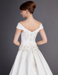 Ball-Gown Off-the-Shoulder Chapel Train Satin Wedding Dress With Embroidered Beading Sequins (002012813)