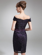 Sheath/Column Off-the-Shoulder Knee-Length Charmeuse Lace Mother of the Bride Dress (008006436)