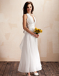 A-Line/Princess Halter Ankle-Length Chiffon Wedding Dress With Ruffle Bow(s) (002012645)