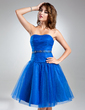 A-Line/Princess Sweetheart Knee-Length Tulle Cocktail Dress With Ruffle Beading (016015578)