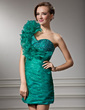 Sheath/Column One-Shoulder Short/Mini Organza Homecoming Dress With Ruffle Beading (022008939)