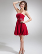 A-Line/Princess Sweetheart Short/Mini Chiffon Bridesmaid Dress With Ruffle Beading Flower(s) (022020979)