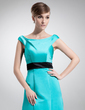 A-Line/Princess Off-the-Shoulder Floor-Length Satin Bridesmaid Dress With Sash (007001457)