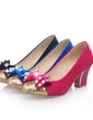 Suede Chunky Heel Pumps Closed Toe With Bowknot shoes (085054466)