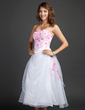 A-Line/Princess Sweetheart Tea-Length Organza Homecoming Dress With Embroidered Ruffle Beading (022015347)