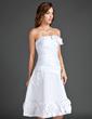 Çan/Prenses Askısız Diz Hizası Satin Mezunlar Gecesi Elbisesi Ile Büzgü Çiçek(ler) (022015571)