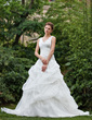 Ball-Gown V-neck Cathedral Train Organza Wedding Dress With Ruffle Lace Beading (002001220)