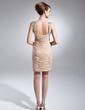 Wąska Kochanie Krótka/Mini Chiffon Suknia dla Mamy Panny Młodej Z Żabot Perełki Cekiny (008015654)