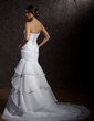Trumpet/Mermaid Strapless Court Train Organza Wedding Dress With Ruffle Beading Sequins (002012721)