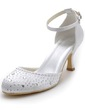 Women's Satin Spool Heel Closed Toe Pumps With Buckle Rhinestone (047039729)