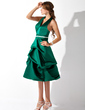 A-Line/Princess Halter Knee-Length Satin Bridesmaid Dress With Ruffle Sash (007001800)