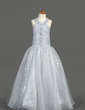 Linia A/Księżniczka Do Podłogi Flower Girl Dress - Organza/Sequined Bez Rękawów Kantar Z Żabot/Frezowanie (010007389)