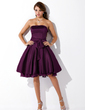 A-Line/Princess Strapless Knee-Length Satin Chiffon Homecoming Dress With Ruffle Bow(s) (022020929)