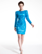 Sheath/Column Scoop Neck Short/Mini Sequined Cocktail Dress (016008389)