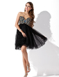 Empire Sweetheart Short/Mini Tulle Homecoming Dress With Beading (022009299)