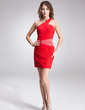 Sheath/Column One-Shoulder Short/Mini Chiffon Cocktail Dress With Ruffle Beading (016016870)