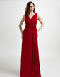 A-Line/Princess V-neck Floor-Length Chiffon Mother of the Bride Dress With Beading Cascading Ruffles (008006238)