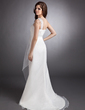 Empire One-Shoulder Court Train Organza Wedding Dress With Ruffle Beading (002012637)