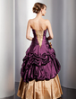 A-Line/Princess Sweetheart Floor-Length Taffeta Quinceanera Dress With Ruffle Lace Beading Flower(s) (021014747)