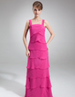 A-Line/Princess Square Neckline Floor-Length Chiffon Mother of the Bride Dress With Cascading Ruffles (008006004)