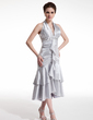 A-Line/Princess Halter Tea-Length Charmeuse Cocktail Dress With Beading Cascading Ruffles (016021207)