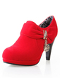 Leatherette Cone Heel Ankle Boots With Sequin shoes (088033089)