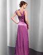 Sheath/Column Off-the-Shoulder Floor-Length Charmeuse Evening Dress With Ruffle (017014824)