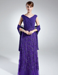 A-Line/Princess Off-the-Shoulder Floor-Length Chiffon Mother of the Bride Dress With Ruffle Lace (008006021)