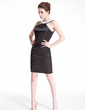 Sheath/Column Scoop Neck Short/Mini Charmeuse Cocktail Dress With Beading Appliques Lace (016008309)