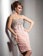 Sheath/Column Sweetheart Knee-Length Chiffon Cocktail Dress With Ruffle Beading Sequins (016021188)