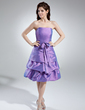 Çan/Prenses Askısız Diz Hizası Taffeta Nedime Elbisesi (007000985)