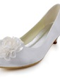 Women's Satin Cone Heel Closed Toe Pumps With Satin Flower (047039629)