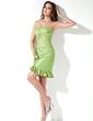 Sheath/Column Sweetheart Short/Mini Taffeta Homecoming Dress With Flower(s) Cascading Ruffles (022017172)