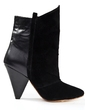 Real Leather Cone Heel Pumps Closed Toe Ankle Boots shoes (088055774)