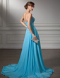 A-Line/Princess Sweetheart Court Train Chiffon Evening Dress With Ruffle Beading Sequins Split Front (017005596)