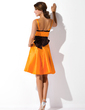 A-Line/Princess Knee-Length Taffeta Bridesmaid Dress With Sash Bow(s) (007001469)