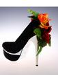 Women's Sparkling Glitter Stiletto Heel Closed Toe Platform Pumps With Flower (047057135)