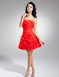 A-Line/Princess Sweetheart Short/Mini Organza Cocktail Dress With Ruffle Flower(s) (016014883)