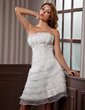 A-Line/Princess Scalloped Neck Knee-Length Satin Organza Wedding Dress With Ruffle Appliques Lace (002012067)