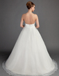 Ball-Gown Strapless Sweep Train Organza Wedding Dress With Flower(s) (002015704)