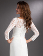A-Line/Princess Square Neckline Sweep Train Chiffon Lace Holiday Dress With Beading Cascading Ruffles (020016837)