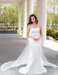 Trumpet/Mermaid Sweetheart Watteau Train Satin Wedding Dress With Lace Beading (002004482)