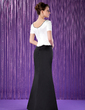 Trumpet/Mermaid Scoop Neck Floor-Length Satin Mother of the Bride Dress With Beading (008018722)