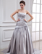 A-Line/Princess Strapless Court Train Charmeuse Wedding Dress With Ruffle Beading Flower(s) (002012717)