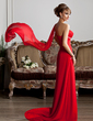 A-Line/Princess One-Shoulder Court Train Chiffon Evening Dress With Ruffle Beading (017013416)
