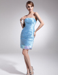 Sheath/Column Strapless Short/Mini Taffeta Cocktail Dress With Ruffle Sequins (016014504)