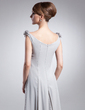 Kılıf Yuvarlak Yaka Uzun Etekli Chiffon Gelin Annesi Elbisesi Ile Büzgü (008015006)