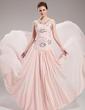 A-Line/Princess Sweetheart Court Train Chiffon Evening Dress With Ruffle Beading Sequins (017019760)